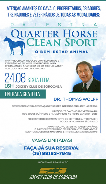 Palestra Quarter Horse Clean Sport - O BEM-ESTAR ANIMAL